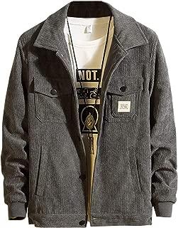 Ladyful Men's Winter Corduroy Trucker Jacket Casual Long Sleeve Outcoat Coat