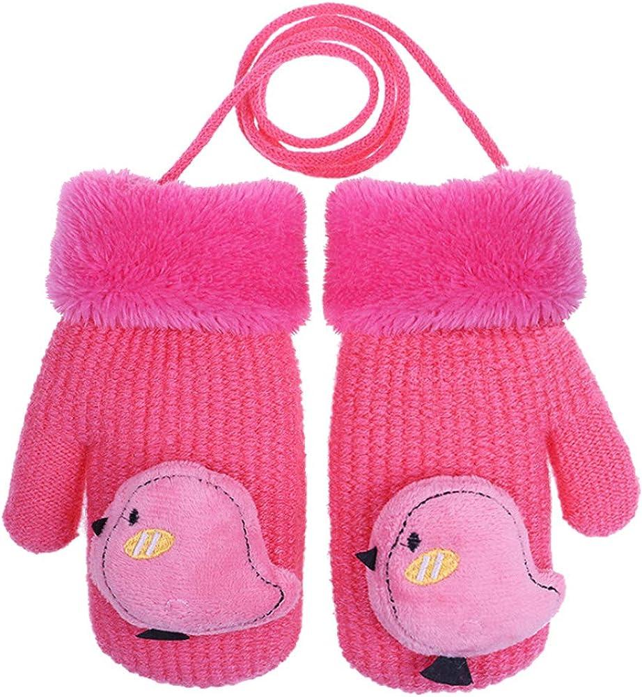 CHUANGLI Toddler Kids Warm Winter Full Finger Gloves Thick Fleece Lined Magic Ski Gloves Mittens