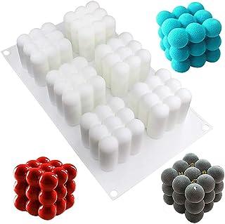 ASSDITED Lot de 6 moules à bougie en silicone 3D - Pour travaux manuels, ornements, fondants, bougies parfumées et savons