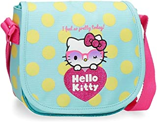 Hello Kitty Pretty Glasses Bandolera con solapa Verde 17x15x4 cms Poliéster
