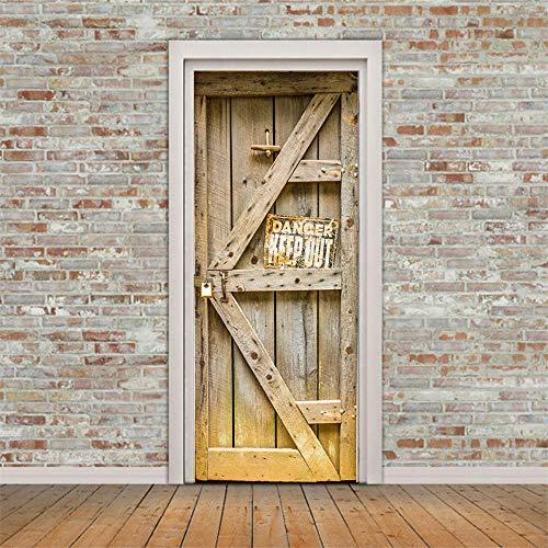 SORMANXZ 3D Türaufkleber Benutzerdefinierte Größe Türwandaufkleber Verfallene Alte Holztür 80 * 200 cm Selbstklebende Tür Poster Wandkunst Foto Abnehmbare DIY Home Schlafzimmer Dekoration