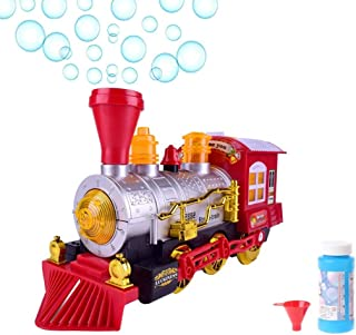 O.B Toys&Gift Bubble Blowing Steam Locomotive Engine Car Bump'n'Go Action Train Toy Battery Operated w/ Colorful Lights & Fun Sounds , Kids Bubble Train
