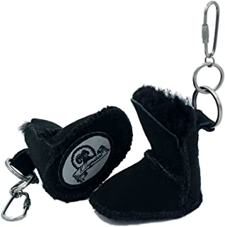 K.Signature Black Twin-Faced Australian Sheepskin Mini Boot Keychain