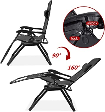 Ezcheer 2021 Upgraded Zero Gravity Lounge Chair Oversized, Support 450lbs Outdoor Lawn Patio Recliner Chair, Folding Beach Ca