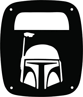 JeepTails Star Wars Boba Fett Head - Jeep TJ Wrangler Tail Lamp Covers - Black - Set of 2