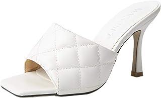 225-28 Women's Square Toe Heel Sandals Pleather Strap Kitten Heel Sandals