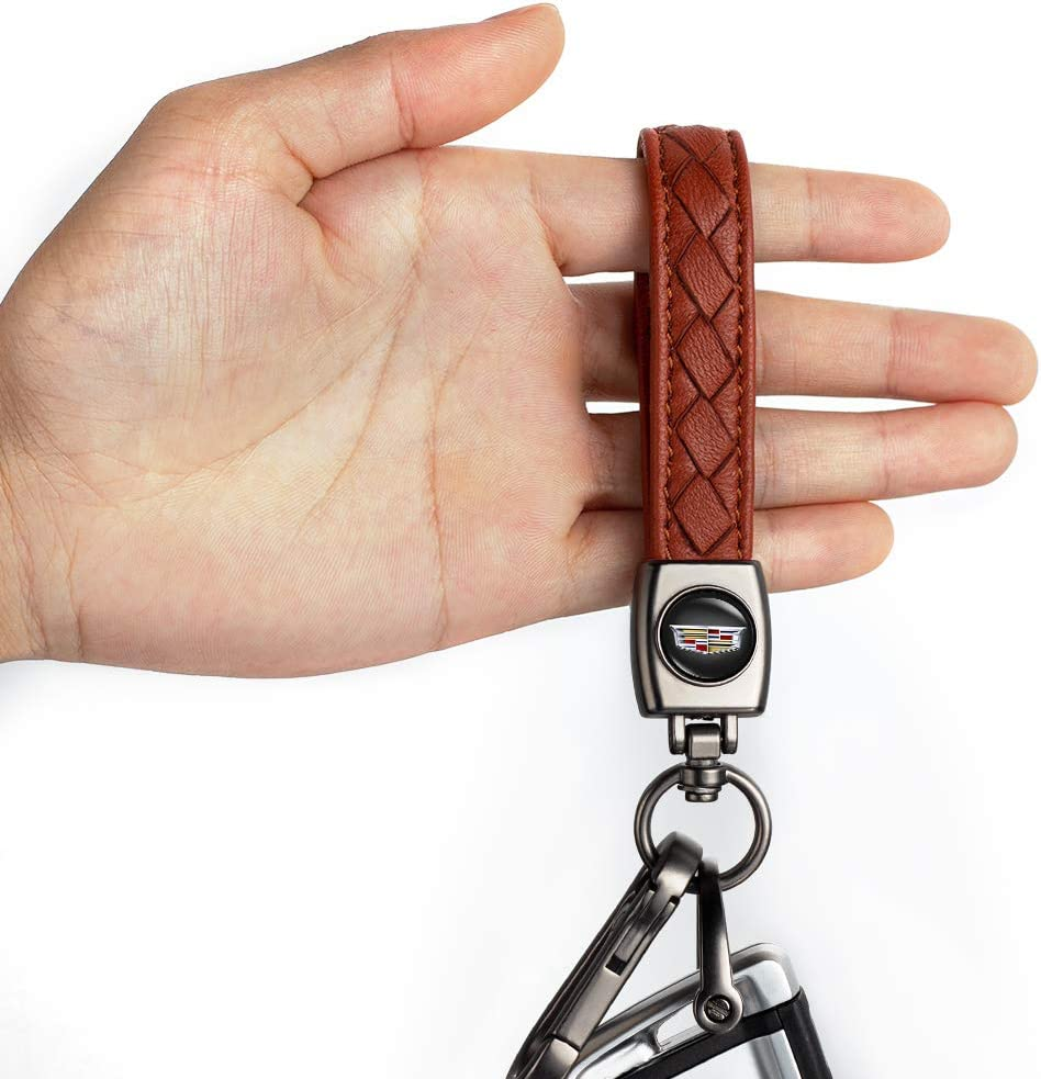 YANGYI Genuine Leather Car Logo Keychain Suit for Nissan Key Chain Keyring Family Present for Man and Woman Brown
