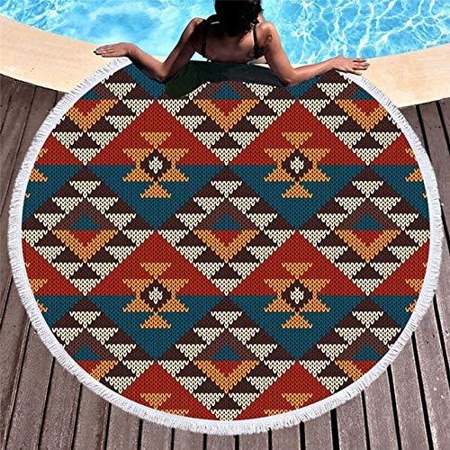 BSSDG Toalla Playa Mandala geométrica Toallas de Playa Redondas de Verano Impreso Toalla de Ducha de baño Círculo Yoga Picnic Mat Bikini Cover Up Serviette de Plage, Patrón 2