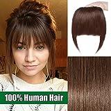 Frange a Clip Cheveux Naturel Postiche Extension Cheveux Humain Bang Fringe Vrai Cheveux Lisse - #04 Châtain
