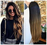 24 Inches No Front Parting Half Head Wig Long OMBRE 3/4 Weave Brown Blonde (Straight- Natural black/dark blonde)