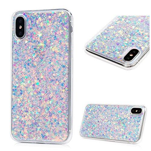 SUPWALL Coque iPhone X Etui Brillante TPU Silicone Cover Ultra Léger Doux Lisse lumière Créatif Exclusif de Protection de Téléphone Case - Violet Clair