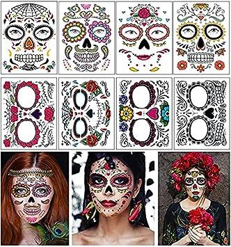Tatuaje temporal de la cara, 8 Kits Tatuajes Sugar Skull Stickers Day of The Dead Makeup, Face Tattoo Rose Design para Halloween, disfraces y fiestas (Pegatinas faciales)