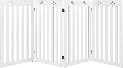 popular Giantex Wooden Freestanding Pet Gate, 4 Panel-36 inch Height Large sale Dog Fence, Foldable 2021 Dog Gate with 360° Flexible Hinges, Indoor Safety Pet Gate for Home, Stairs, Doorway, White sale