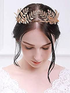 Deniferymakeup Vintage Baroque Wedding Olive Branch Crown and Tiara Bridal Princess Queen Crown for Bride and Bridesmaid (Rose Gold)