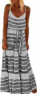 HIRIRI Women's Dresses Belted Tie Waist Summer Bohemian Spaghetti Strap Loose Swing Long Maxi Dress