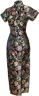 7Fairy Women's Sexy Black Ten Buttons Long Chinese Dress Cheongsam