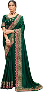 green Plain body designer Border fancy Silk Saree Indian Woman Blouse party festival Sari 6563