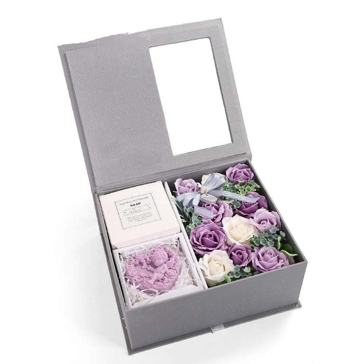 順応性のある輸血浸透する生地と花石鹸の花 バラの花バレンタインデーのためのエッセンシャルバス石鹸の花嫁の記念日誕生日母の日 (色 : 紫の)