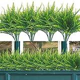 Artificial Plants, 12 Bundles Fake Boston Fern Greenery Outdoor UV Resistant Plastic Flowers Indoor Outside Hanging Planter Home Garden Decor