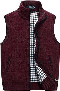 Men's Stand Collar Loose Zipper Sleeveless Knitted Cardigan Sweater Vest Outwear Jackets & Coats