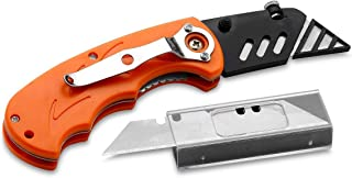 Katzco Folding Utility Knife Set – Includes 5 Replacement Utility Blades - Plastic Cover for Sharp Edge - Ideal for Cardboard, Rope, Carpet, Linoleum, Plastic, Leather, Wallpaper