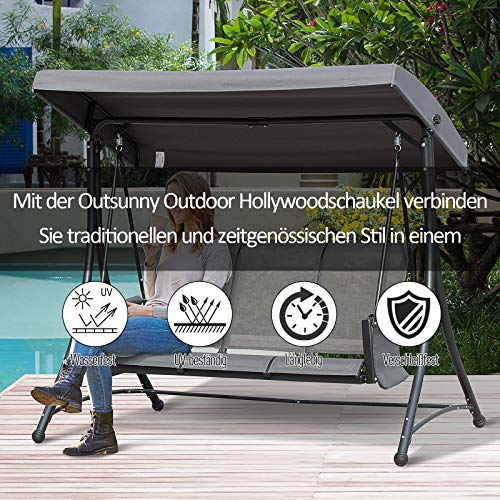 Outsunny 3-Sitzer Hollywoodschaukel, Gartenschaukel mit Sonnendach, Schaukelbank mit Ablage, Aluminium, Grau, 196 x 128 x 172 cm - 3