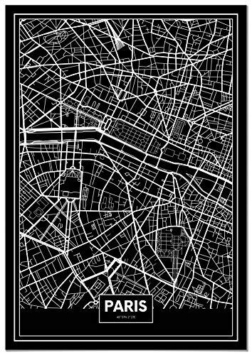 Panorama Tableau Carte Noir de Paris 21 x 30 cm - Imprimée sur Toile de Grande qualité - Tableau Ville Noir et Blanc - Tableau Moderne pour la Maison