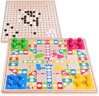 Puzzle Board Toy pgmrw23h 3 in 1 Double-Faced Foldable Wooden Flying Ludo Go Game Gomoku Travel Board Toy - New