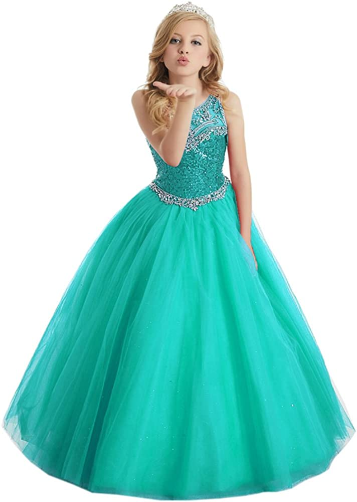 Beiji Girls' Spaghetti Glitz Special Campaign Sequin Pageant Max 41% OFF Corset Hollow Beauty