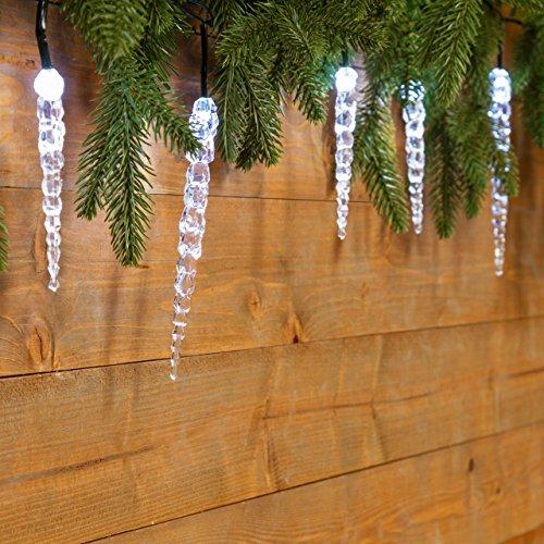 XMASKING Catena 8 m, 40 Ghiaccioli LED Bianco Freddo, Cavo Verde, luci di Natale, luci per Albero,...