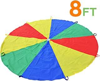 Sonyabecca 8FT Parachute for Kids 8' with 9 Handles Game Toy for Kids Play