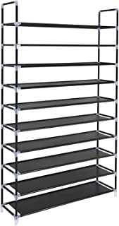 SONGMICS 10 Tiers Shoe Rack 50 Pairs Non-woven Fabric Shoe Tower Organizer Cabinet 39.4 x 11.1 x 68.9 Inches Black ULSH11H
