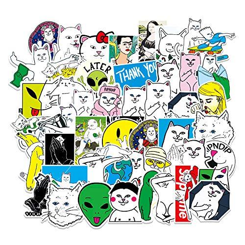 JZLMF 53 Tide Marca Dito Medio Gatto Cartone Animato Graffiti Adesivi Bagagli Laptop Cellulare Adesivi Decorazione Auto