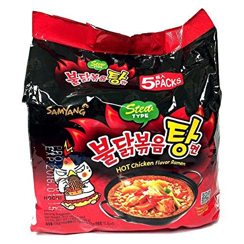 SAMYANG Buldak Bokkeum Tang Myun - Estofado de ramen de pollo picante picante, paquete de 5