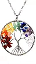7 Chakra Tree Of Lif Pendant Necklace With Silver-Plated Chain Set For Emf Protection 7 different gemstone Anti Radiation Perfect Gift for Valentine's Day/Birthday/Anniversary