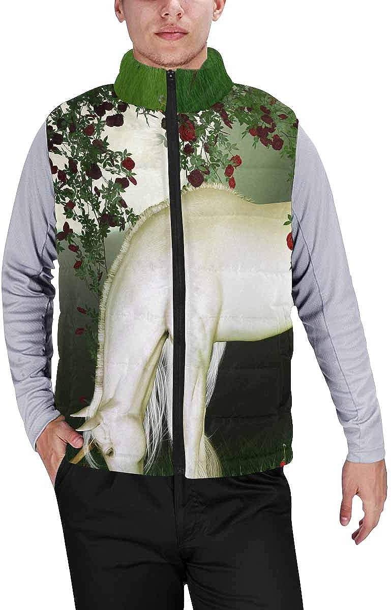 InterestPrint Men's Full-Zip Padded Vest Jacket for Outdoor Activities Unicorn XXL