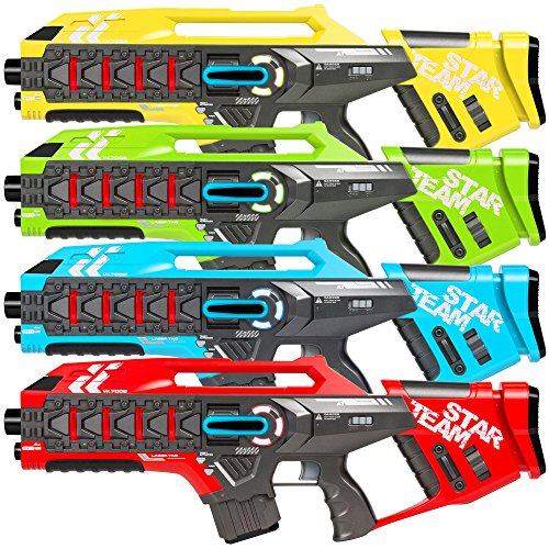 Best Choice Products Set of 4 Infrared Blaster Laser Tag Toys w/ Life Tracker, Backwards Compatible