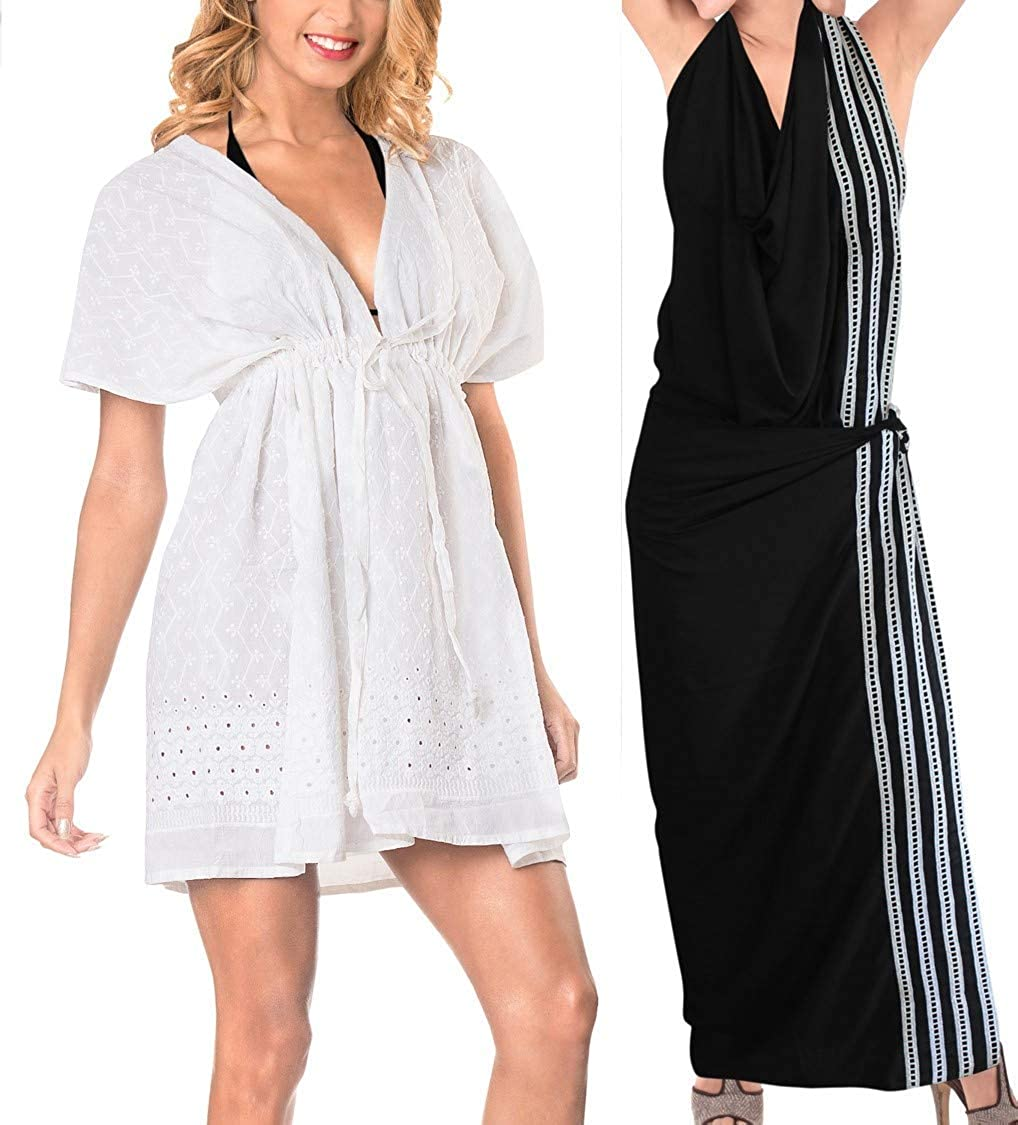 LA LEELA Womens Sexy Cotton Swimsuit Cover Ups Sheer Bikini Blouse Beach Cover up Wrap Pareo Work from Home Clothes Women Pack of 2