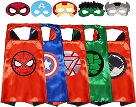 Ecparty Superheros Capes & Masks with Superheros Logo Dress up for Kids