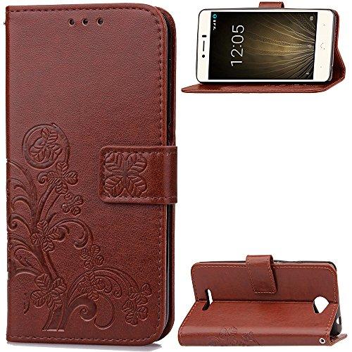Hülle für BQ Aquaris U, BQ Aquaris U Lite Handyhülle Leder Tasche Schutzhülle Stoßfest Flip Hülle Klapphülle Ständer Brieftasche Ledertasche - Brown