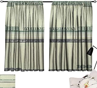 Aurauiora Backdrop Curtain Money,Hundred Dollar Bill Century Note Design American Currency Style Frame Pattern, Pale Green Grey 72