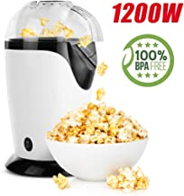 Ahlink Hot Air Popcorn Popper, 1200W Popcorn Maker, Electric Popcorn Machine for Home Use, No Oil Needed with Measuring Cup and Removable Lid, White