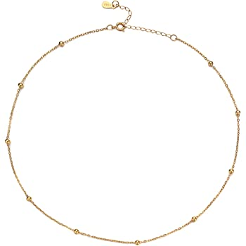 YIBA Choker Necklace 18K Gold Plated Chain Tiny Beaded Choker Satellite Bead Jewelry Gift for Women and Girl Chain (18k Gold Plated)