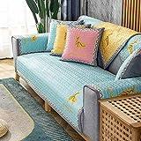 MissZZ Funda de sofá Acolchada para sofá de 3 Cojines, Funda de sofá seccional Antideslizante para sofá de Cuero, Funda de sofá en Forma de L, Protector de Muebles Lavable para Perros, Azul Cielo 7