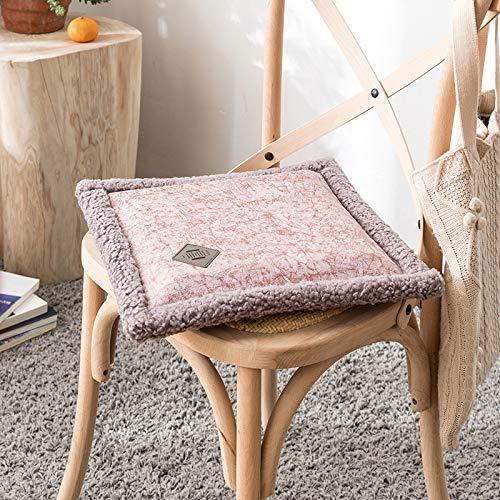 Effen kleur pluche kussen, warme zachte bont gestikte stoel kussen winter dikke suède schapenvacht Tatami mat stoel pads,40 * 40 * 5cm 40 * 40 * 5cm Paars