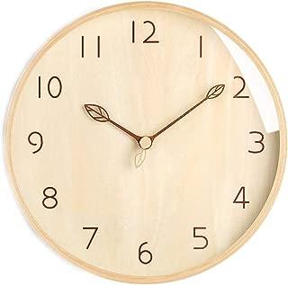 Chovy 掛け時計 壁掛け時計 北欧 アナログ シンプル おしゃれ かわいい サイレント 連続秒針 インテリア 葉 シンプル 個性 部屋装飾 子供部屋 プレゼント