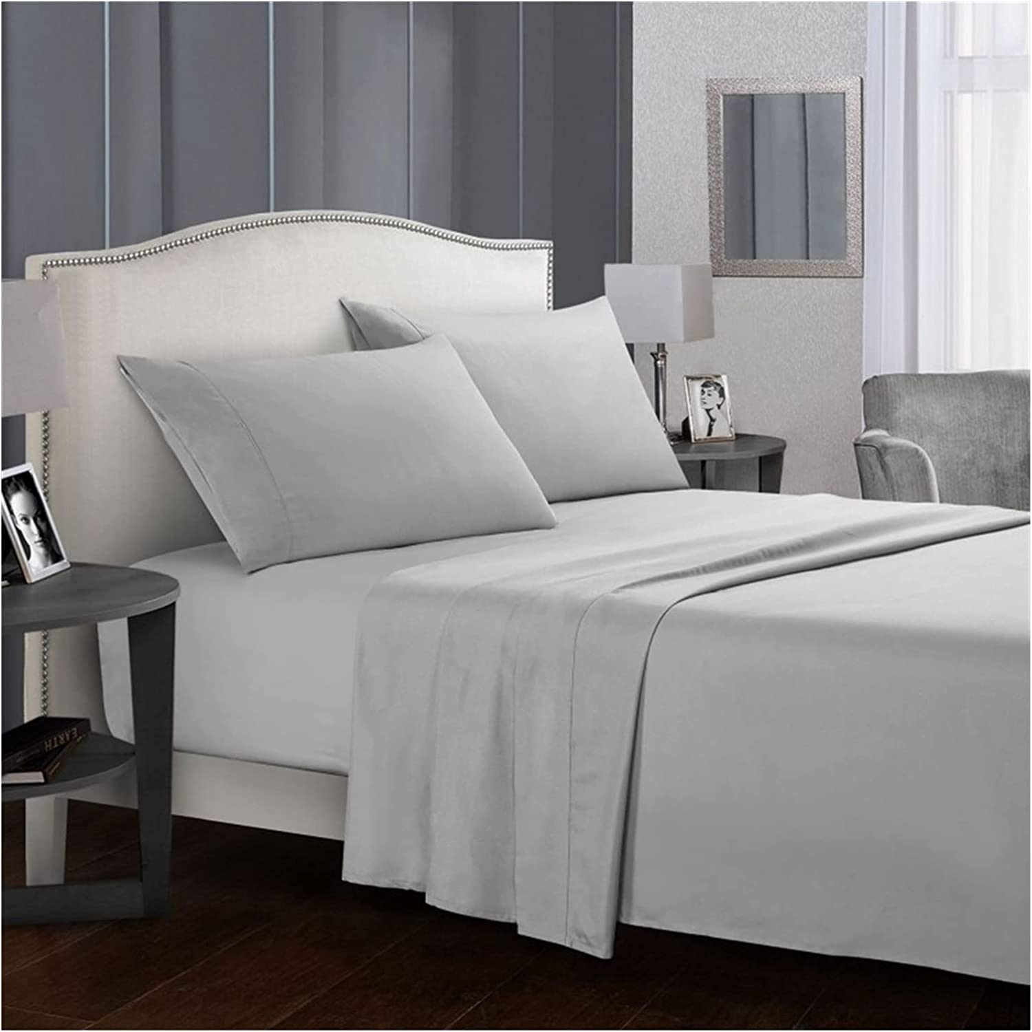 DSMYYXGS White Bedding Set Solid Color Limited time trial price Bed Max 74% OFF Queen King Sets Sheet