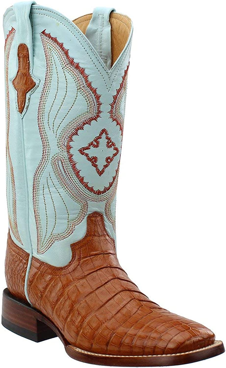 Ferrini Women's Cognac Caiman Belly Cowgirl Boot Wide Square Toe Cognac US
