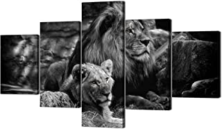 Yatsen Bridge Modern Lion and Lioness Canvas Wall Art 5 Panels Black and White Lions Painting Prints on Posters Easy to Hang for Home Decor - 70