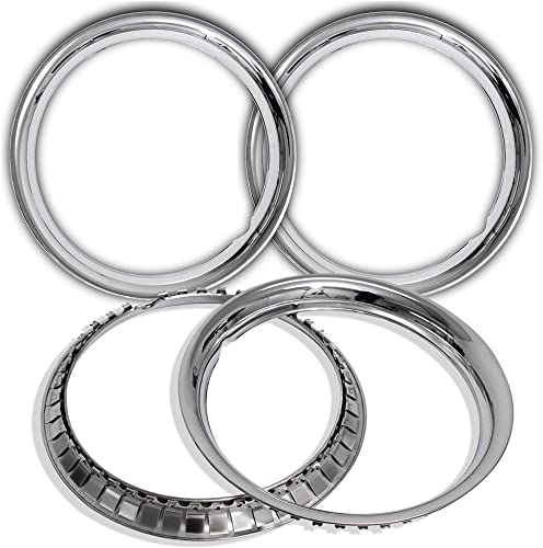 new arrival Trim Rings 15 high quality inch diameter discount (Pack of 4) Chrome Steel Beauty Rim online